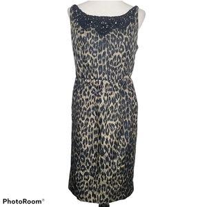 Rebecca Moses Leopard Sheath Sleeveless Dress 14